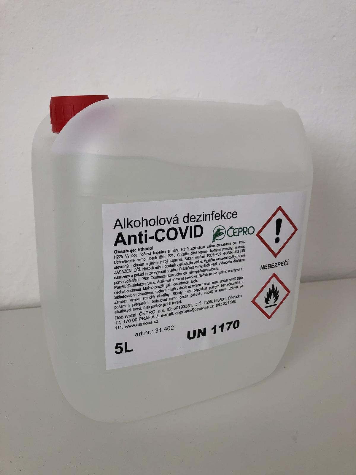 alkoholová dezinfekce desinfekce anti covid